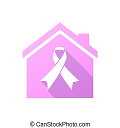 Pink house icon with an awareness ribbon
