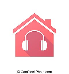 Red house icon with a hearphones
