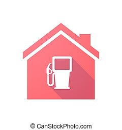 Red house icon with a gas station