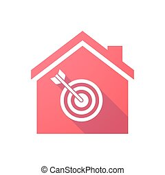 Red house icon with a dart board - Illustration of a red...