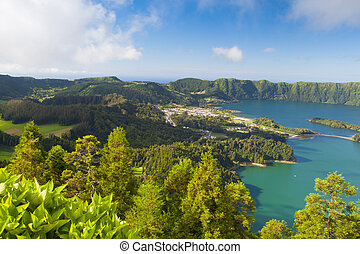 Famous caldera on Azores