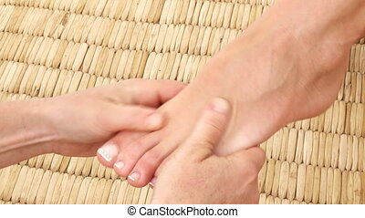 Footage of foot massage