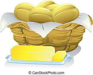 Bread and Butter - Illustration of a basket of bread rolls...