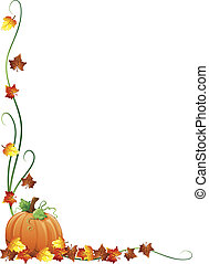 Autumn border - Illustration of fall leaves and a pumpkin as...