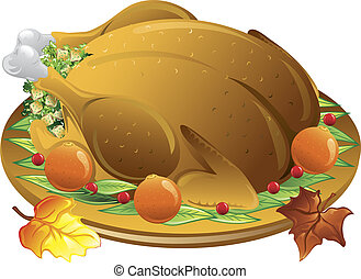 Autumn turkey dinner - Illustration of fall leaves and a...