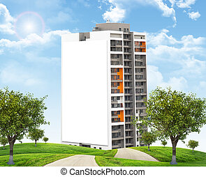 High-rise building under blue sky with road - High-rise...