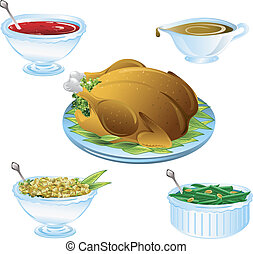 Thanksgiving dinner icons - Illustrations of different...
