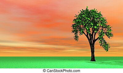 Spring tree in orange and green landscape