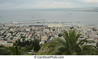 Panorama of Haifa and Bahai garden Israel