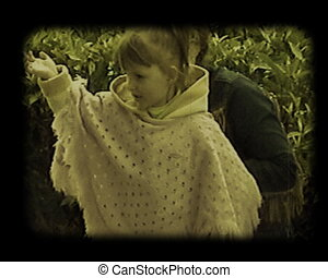 mother and little daughter - the outdoors portraits of...