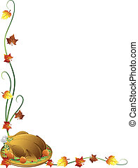 Thanksgiving turkey border - Thanksgiving border with a...