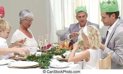 Family at their Christmas dinner