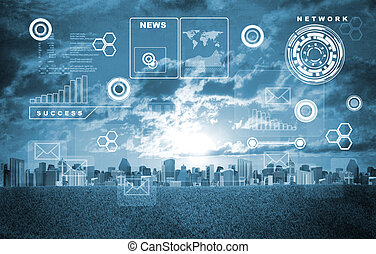 Cityscape with holographic screen and virtual icons