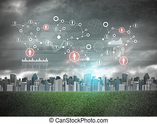 Cityscape with holographic screen and virtual icons, red...