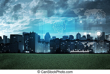 Cityscape with holographic screen and graphical charts
