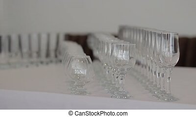 Three Empty Wine Glasses in a row