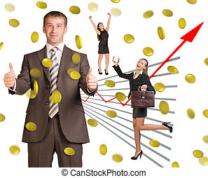 Business people under money rain on white background