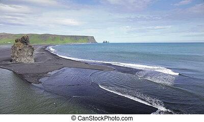 The black sand beach in Iceland - Dyrholaey, volcanic beach...
