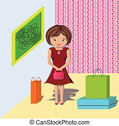 woman with shopping in the house - young girl did a lot of...