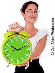 Young business woman showing a green color clock - Young...
