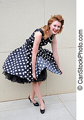 Dress malfunction - Fashion model having a dress malfunction...
