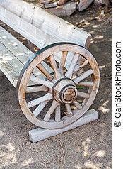 anticaglia, ruota, carrello, fatto, panca