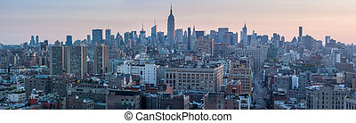 USA, NEW YORK CITY - April 28, 2012. New York City Manhattan skyline aerial view with street and skyscrapers
