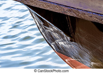 Old wooden ship bow