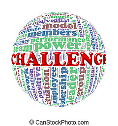 Wordcloud word tags ball of challenge