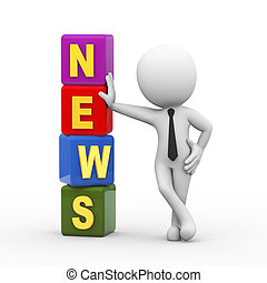 3d man and news cubes - 3d rendering of businessman standing...