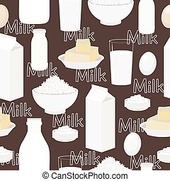 Dairy products, seamless vector background. Kitchen pattern