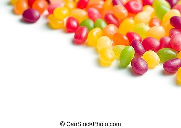 jelly beans on white bakground