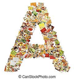 Letter A Uppercase Font Shape Alphabet Collage