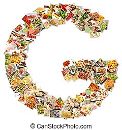 Letter G Uppercase Font Shape Alphabet Collage