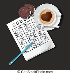 illustration of Sudoku game, mug of coffee and cookies - top...