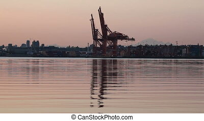 Shipping and Cargo Cranes Sunrise - Shipping and Cargo...