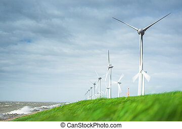 Wind farm along the dike of the noordoostpolder in the...