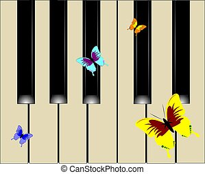 piano background with butterflies