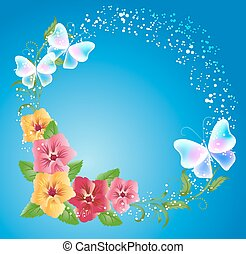 Pansies and transparent butterflies on the blue background