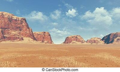 Red rocks among desert pan view - Panorama of rock...