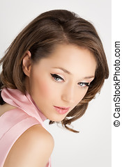 Delicate Beauty - Young beautiful elegant woman with pink...