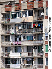 Apartment House in Bulgaria - Facade of the shabby apartment...