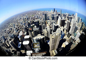 Chicago Downtown Buildings Fisheye Round World - Chicago...