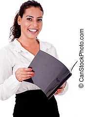 Happy smiling business woman holding folder