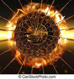 Fireball - A big fireball explodes from the center