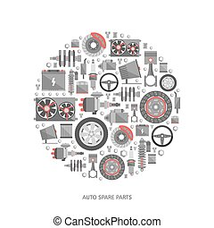 Set of auto spare parts. Car repair icons in flat style....
