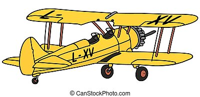 Old yellow biplane - Hand drawing of an old yellow biplane -...