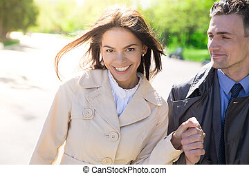 Portrait of a smiling couple outdoors
