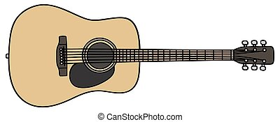 Guitar - Hand drawing of an acoustic guitar - not a real...