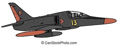 Black military jet aircraft